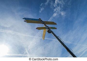 suisse, piste, (mountains), randonnée, signe