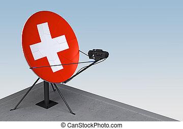 suisse, plat, satellite, drapeau