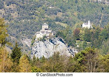 suisse, rhazuns, château, graubunden, canton