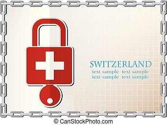 suisse, serrure, drapeau, fait, logo