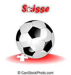 SUISSE soccer ball icon with flag colors as multi colored...