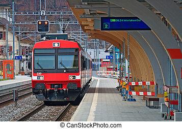 suisse, train, rouges