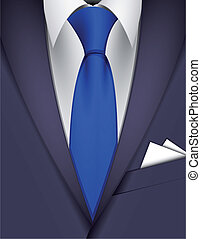 Suit and blue tie