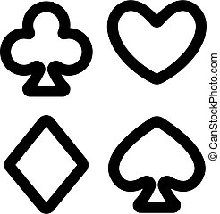Suit cards icon vector. Isolated contour symbol illustration