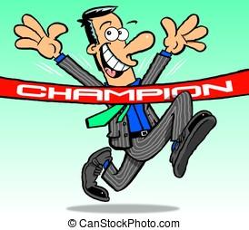 Suit. Champion. - Cartoon of running, champion, businessman,...