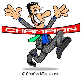 Suit. Champion.WBG> - Cartoon of running, champion,...