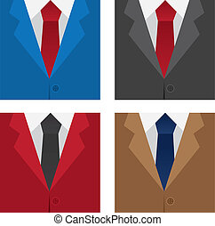 Different colored suit and ties