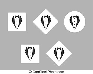 Suit logo on white square and circle, flat design