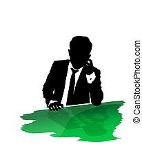 Suit man calling - Business suit man talking on the phone ...