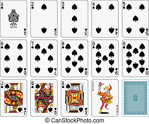 Suit spade - Detailed playing cards, suit spade, joker and...
