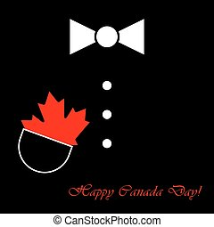 suit with bow tie, maple leaf and text