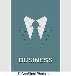 Suit with tie abstract isolated, vector illustration