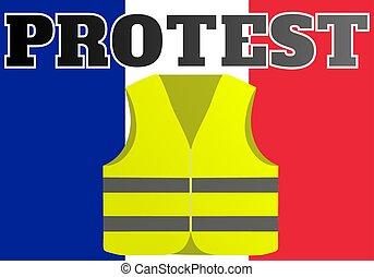 suitable, 背心, 拿, gilets, 黃色, france., 地方, 新聞, protests,...