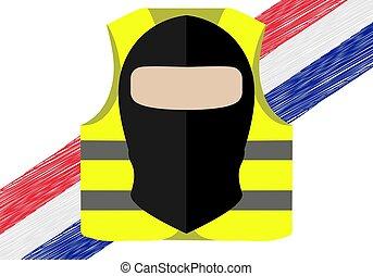 suitable, 背心, 拿, gilets, 黃色, france., 矢量, 地方, 新聞, protests,...