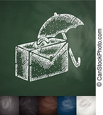 suitcase and an umbrella icon. Hand drawn vector illustration