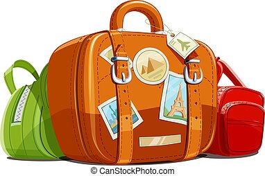 Suitcase and bag for travel with stickers. Touristic...