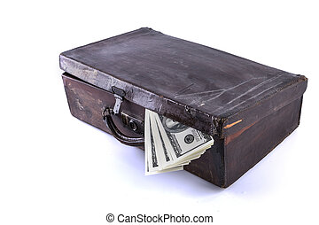 suitcase and money