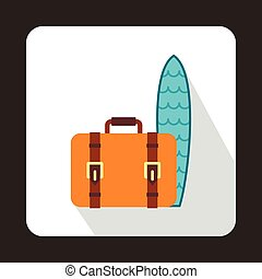 Suitcase and surfboard icon, flat style