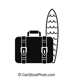 Suitcase and surfboard icon, simple style