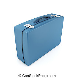 Suitcase - Blue suitcase on white background