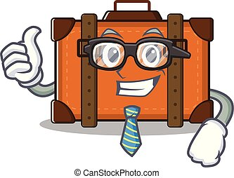 suitcase businessman in the cartoon with mascot