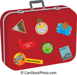 Suitcase. Baggage of the tourist after big travel