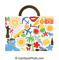 Suitcase for travel collected from subjects. A vector...