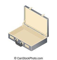 suitcase Empty isolated isometric style. blank case on white...