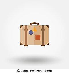 Suitcase. Flat icon.