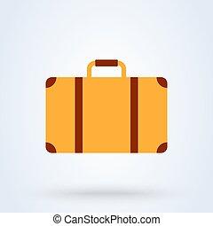 Suitcase flat style. Vector illustration icon isolated on white background.
