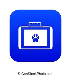 Suitcase for animals icon digital blue for any design isolated on white illustration