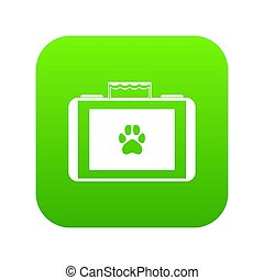 Suitcase for animals icon digital green for any design isolated on white illustration