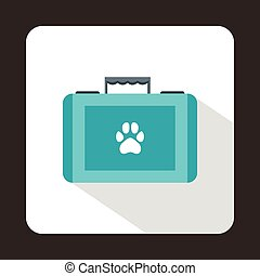 Suitcase for animals icon, flat style