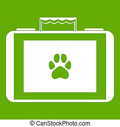 Suitcase for animals icon white isolated on green background. illustration