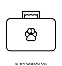 Suitcase for animals icon in outline style isolated on white background