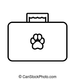 Suitcase for animals icon, outline style