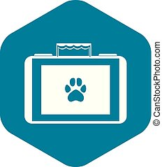 Suitcase for animals icon, simple style