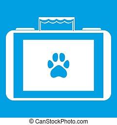 Suitcase for animals icon white isolated on blue background illustration