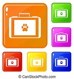 Suitcase for animals icons set collection 6 color isolated on white background
