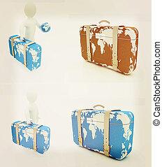 Suitcase for travel set . 3D illustration. Vintage style.