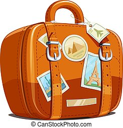 Suitcase for travel with stickers. Touristic baggage....