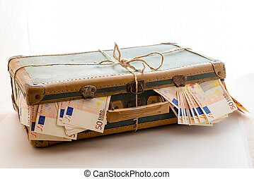 suitcase full of Euro banknotes