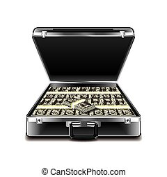 Suitcase full of money isolated on white vector