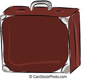 Suitcase hand drawn design, illustration, vector on white background.
