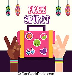 suitcase hands peace and love feather hippie free spirit