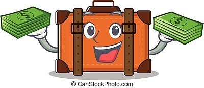 suitcase happy holding money on a with character
