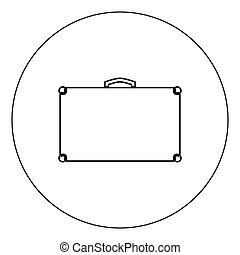 Suitcase icon black color in circle vector illustration isolated