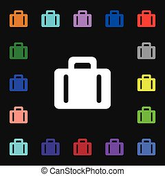 suitcase icon sign. Lots of colorful symbols for your design. Vector