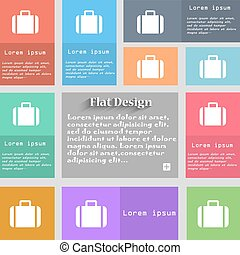 Suitcase icon sign. Set of multicolored buttons. Metro style with space for text. The Long Shadow Vector