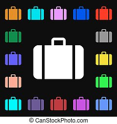 suitcase iconi sign. Lots of colorful symbols for your design. Vector